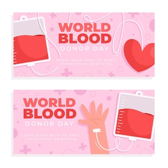 Cartoon world blood donor day banners set