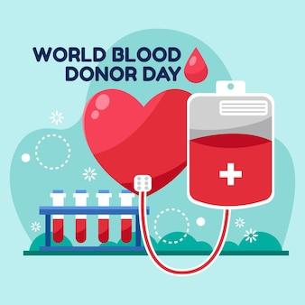 Cartoon world blood donor day illustration
