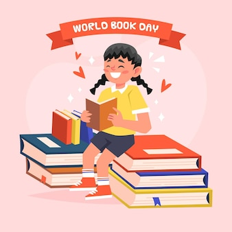 Cartoon world book day illustration with happy woman reading