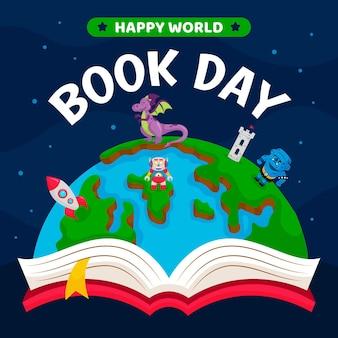 惑星と本の漫画世界図書日イラスト