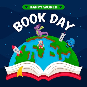 Cartoon world book day illustration with planet and book