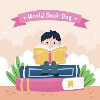Cartoon world book day illustration