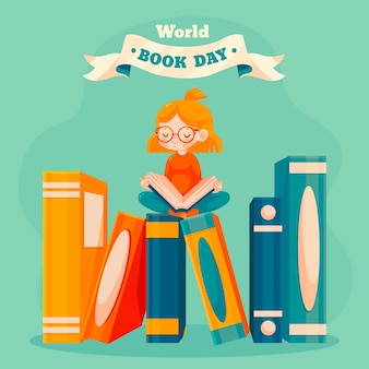 Cartoon world book day illustration
