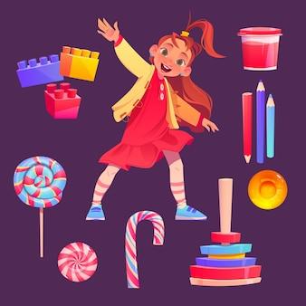 Коллекция элементов мультяшного всемирного дня защиты детей