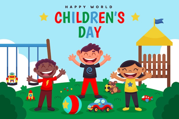 Cartoon world children's day illustration