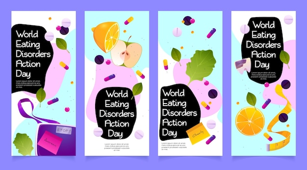 Cartoon world eating disorders action day banners set