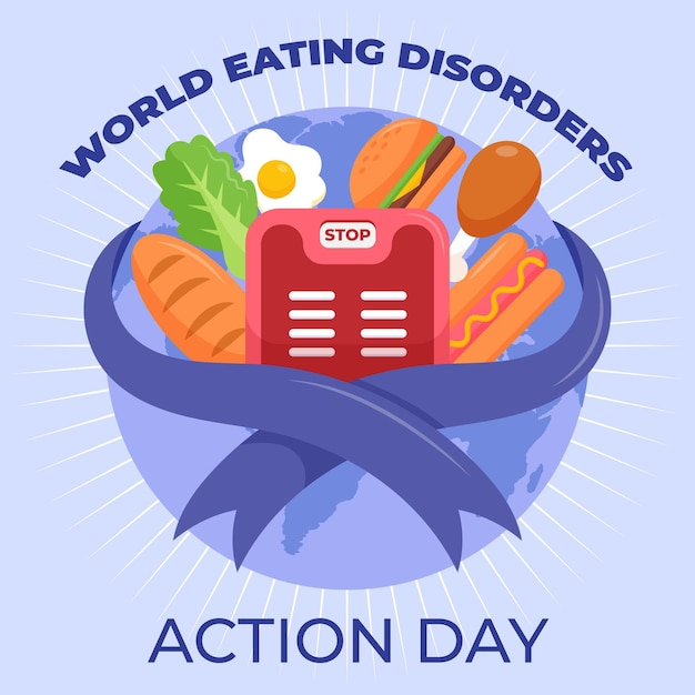 Cartoon world eating disorders action day illustration