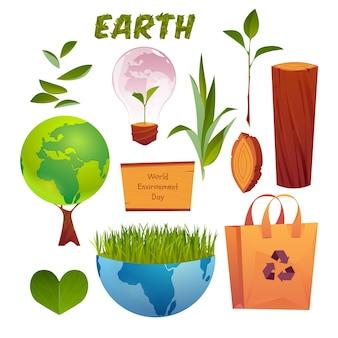 Raccolta di elementi di giornata mondiale dell'ambiente del fumetto
