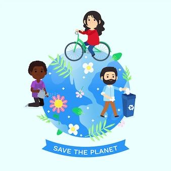 Cartoon world environment day save the planet illustration