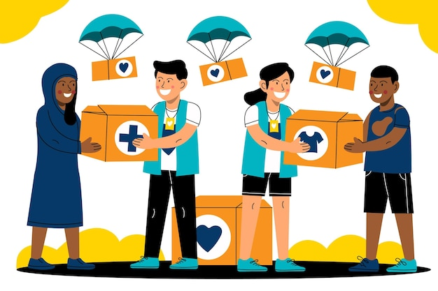 Cartoon world humanitarian day illustration