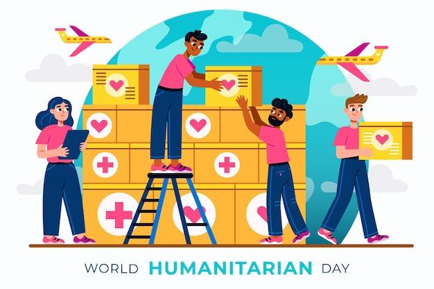 Illustrazione della giornata mondiale umanitaria dei cartoni animati