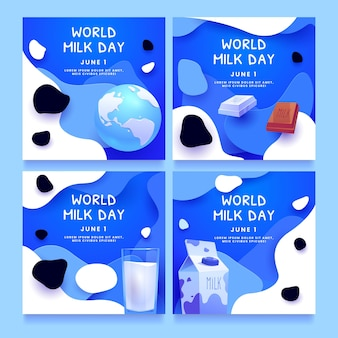 Cartoon world milk day instagram posts collection