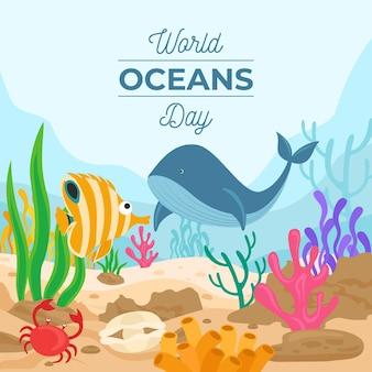 만화 세계 바다의 날 그림 무료 벡터
