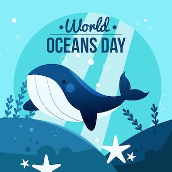Иллюстрация шаржа всемирного дня океанов