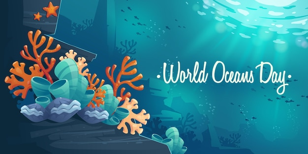 Cartoon world oceans day illustration