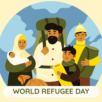 漫画の世界難民の日のイラスト