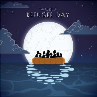 Cartoon giornata mondiale dei rifugiati illustrazione