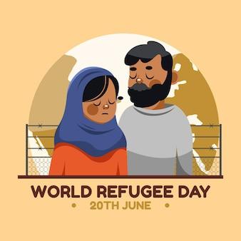 Иллюстрация шаржа всемирного дня беженцев