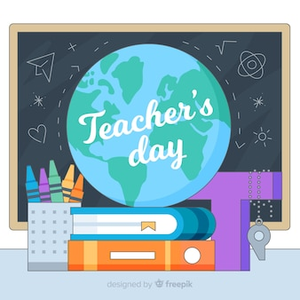 Cartoon world teacher's day background