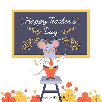 Cartoon world teachers' day with mouse as teacher