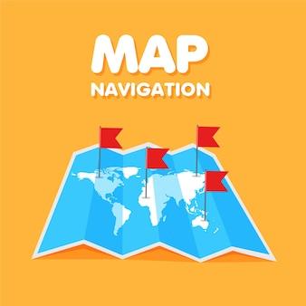漫画の世界旅行地図の色付きの旗グローバルマップ上の場所とピンポイント