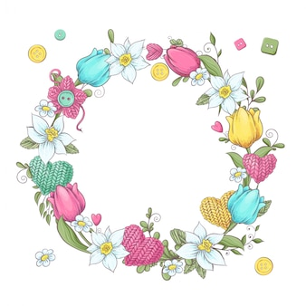 Cartoon wreath of knitted elements and accessories and spring flowers. hand drawing. vector illustration