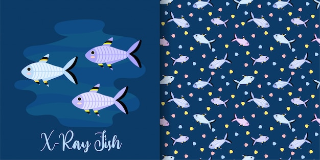 Cartoon x-ray fish seamless pattern set