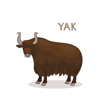 A cartoon yak with curly horns, isolated on a white background.