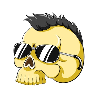 The cartoon of the yellow dead head skull with the punk hair and using the sunglasses