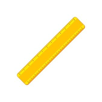 만화 노란색 양면 눈금자 아이콘입니다. 학용품 및 측정 도구 모음입니다. 배경에 고립 된 평면 벡터 일러스트 레이 션