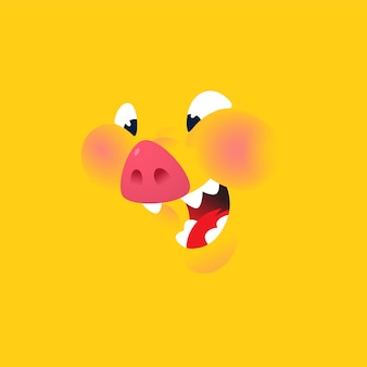 A cartoon yellow pig background