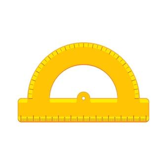 만화 노란색 각도기 아이콘입니다. 학용품 및 측정 도구 모음입니다. 배경에 고립 된 평면 벡터 일러스트 레이 션