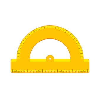 Cartoon yellow protractor icon. school supplies and measuring tools collection. flat vector illustration isolated on background