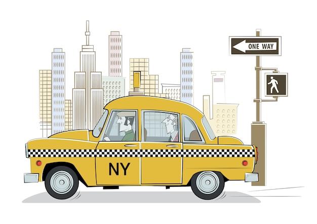 Cartoon yellow retro taxi in new york.