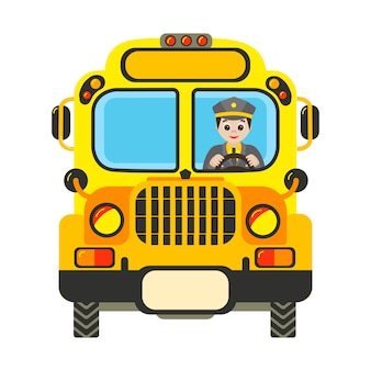 Cartoon yellow school bus with driver