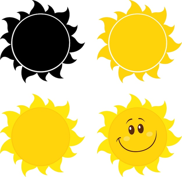 Cartoon yellow simple suns set collection isolated on white