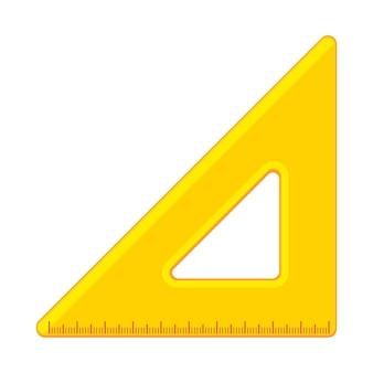 만화 노란색 삼각형 눈금자 아이콘입니다. 학용품 및 측정 도구 모음입니다. 배경에 고립 된 평면 벡터 일러스트 레이 션