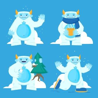 Cartoon yeti abominevole collezione di personaggi del pupazzo di neve