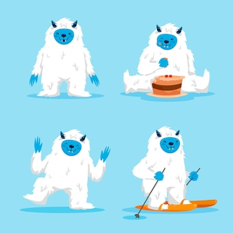 Cartoon yeti abominable snowman character pack