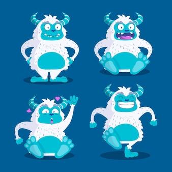 Cartoon yeti abominable snowman character set