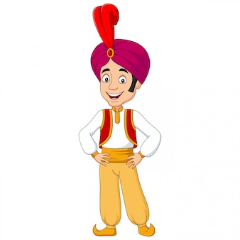 Cartoon young aladdin posing