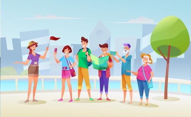 Мультфильм молодые и старые туристы группы на экскурсию с гидом девушка с флагом на фоне городского пейзажа.