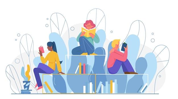 Мультяшные молодые любители книг сидят вместе на книжных полках библиотеки