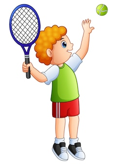 Cartoon young boy playing tennis on a white background