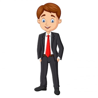 Cartoon young businessman posing on white
