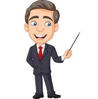 Мультфильм молодой бизнесмен, представляя с указателем