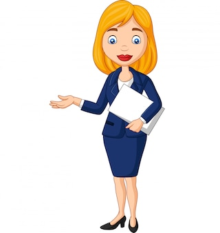 Cartoon young businesswoman holding a document file