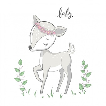 Cartoon young deer with branches