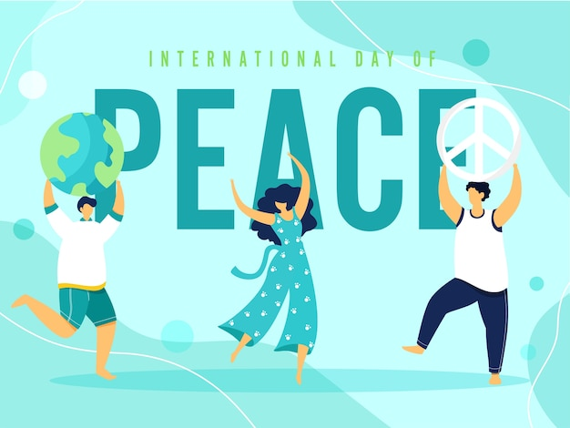 Cartoon young girl and boys dancing, earth globe, peace symbolism on light turquoise background for international peace day.