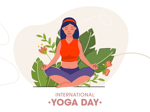 Cartoon young girl sitting in meditation pose with green leaves and flowers on white background for international yoga day.
